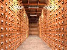 Concept Of A Database. The Corridor Has Wooden Cabinets For The Archives. 3D Illustration