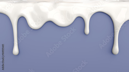 3d illustration of white milk pouring on blue background