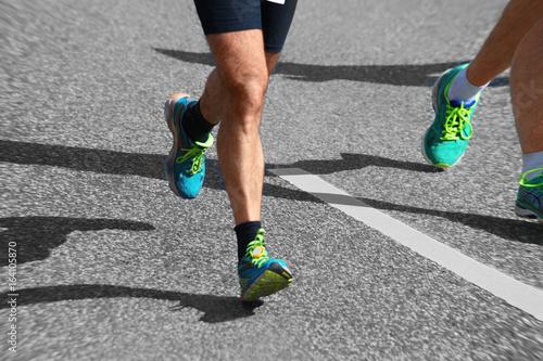Foto op Canvas Klaprozen Marathon Läufer