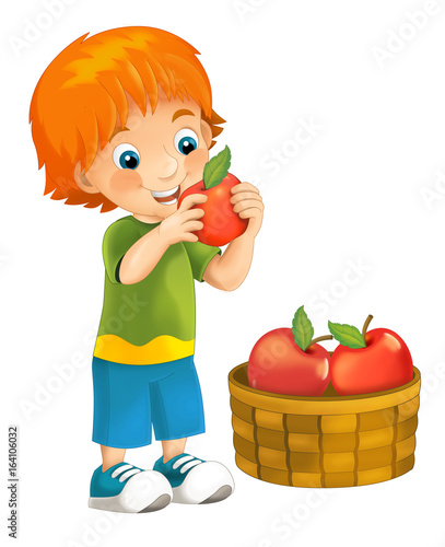 Cartoon Happy And Funny Looking Boy Holding And Eating