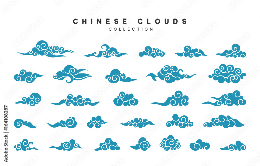Fototapeta Collection of blue clouds in Chinese style.