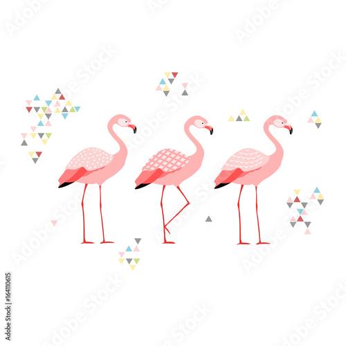 Canvas Prints Flamingo Bird Three flamingos,boho style, isolated vector illustration.