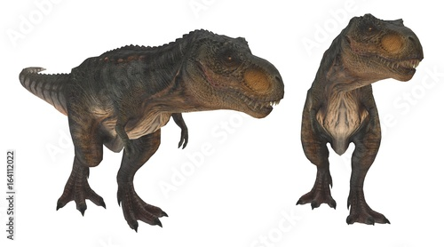 two t-rex hunting pose 3d illustration Canvas Print