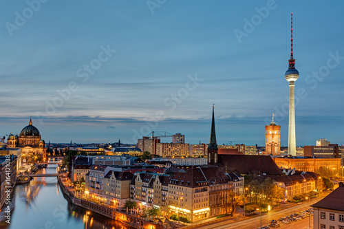 The Alexanderplatz with the Television Tower in Berlin at night Poster