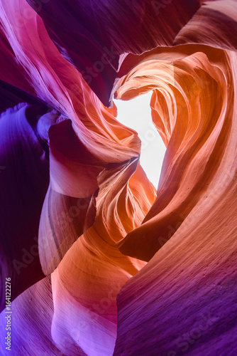 Fotoposter Canyon Lower Antelope Canyon - located on Navajo land near Page, Arizona, USA - beautiful colored rock formation in slot canyon in the American Southwest