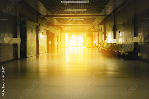 Tunnel in towers with light with blur man Poster