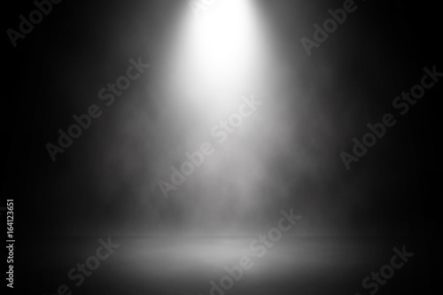 Poster Licht, schaduw Abstract spotlight white stage design background.
