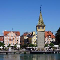 Fototapeta na wymiar Lindau is a town and island on the eastern side of Lake Constance (Bodensee in German). It is located near the borders of Austria (Vorarlberg) and Switzerland (St. Gallen and Thurgau).