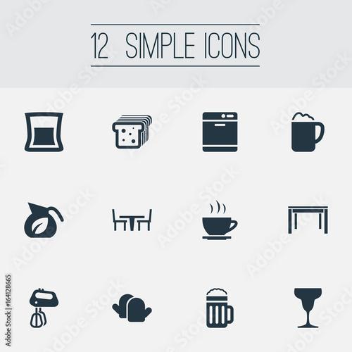 Vector Illustration Set Of Simple Cuisine Icons Elements Stir Oven