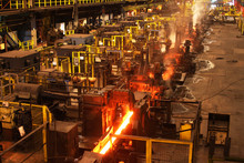 Red Hot Steel Bar In Multi Stand Rolling Mill.