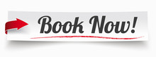 Paper Banner Red Arrow Book Now