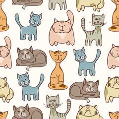 Hand drawn cute cats seamless pattern - pets seamless background