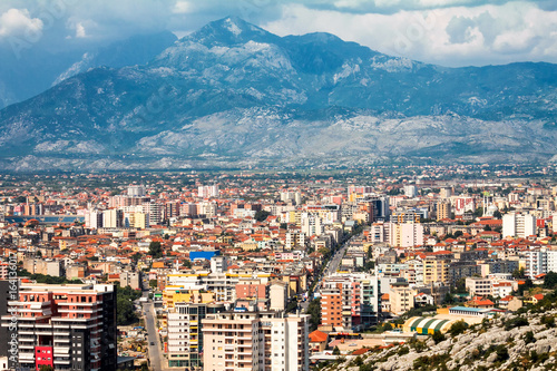 Staande foto Praag A view of Shkoder city under the mountains, Albania - Europe.