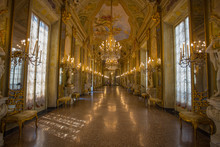 GENOA (GENOVA), JULY, 2, 2017 - View Of The Mirror Gallery In Palazzo Reale,  The Royal Palace, In The Italian City Of Genoa, UNESCO World Heritage Site, Italy.