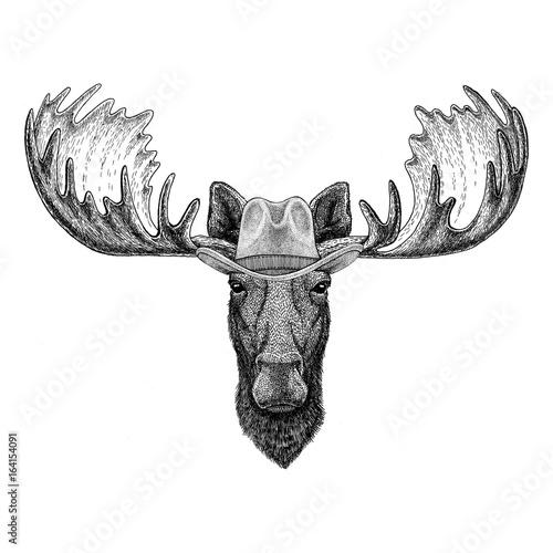 Moose, elk Wild animal wearing cowboy hat Wild west animal Cowboy animal T-shirt, poster, banner, badge design Wall mural