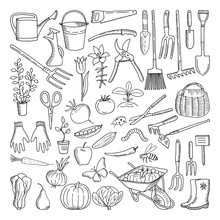 Hand Drawn Tools For Farming A...
