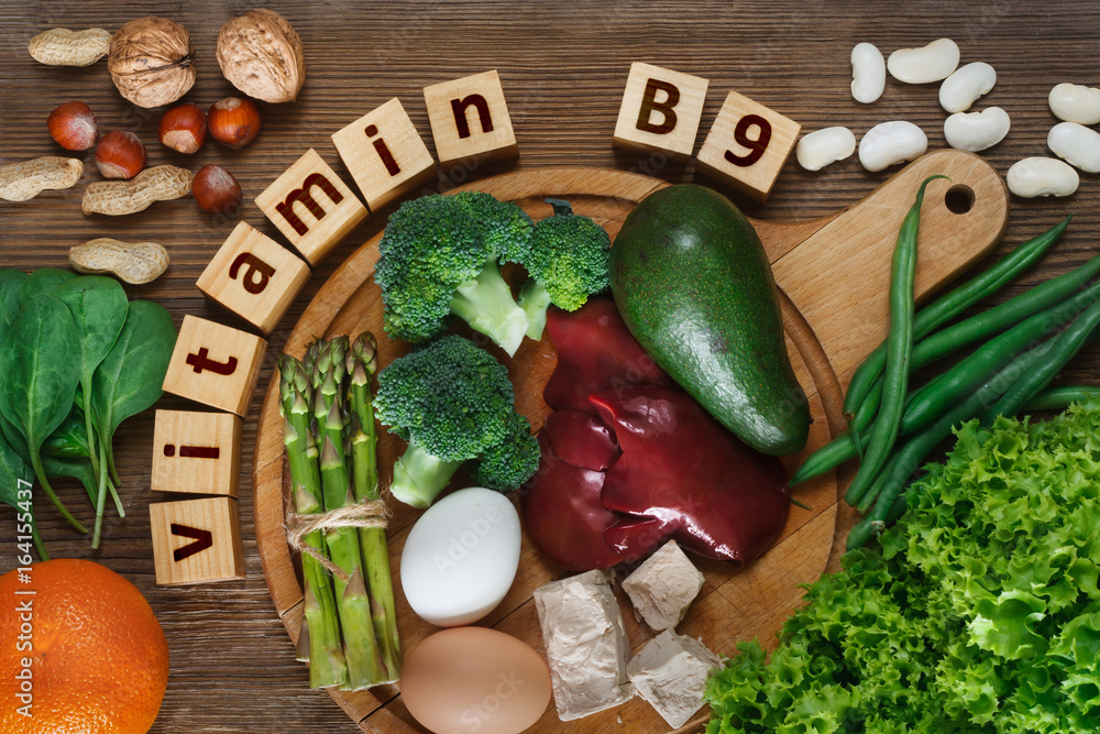 Fototapeta Foods rich in  vitamin B9