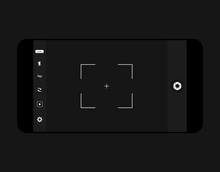 Mobile Camera Interface Template Background. Screen Of Smartphone With Camera Interface. Viewfinder Display. Vector Illustration