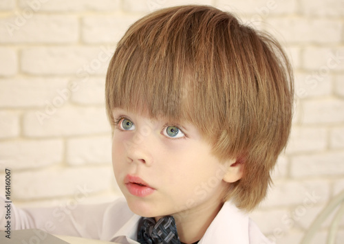 Portrait Of A Handsome Three Year Old Blue Eyed Boy Buy This Stock