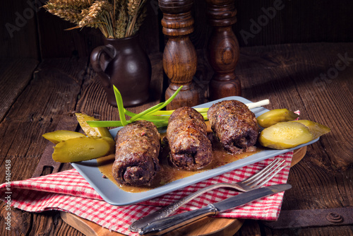Fototapeta baked beef Roulades with delicious fillings