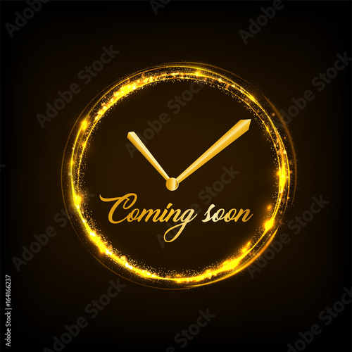 Coming Soon Concept With Clock Shape And Golden Light Frame With