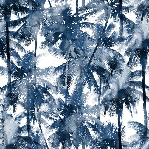 Tropikalny wzór akwarela. Palmy i tropikalne gałęzie w bez szwu tapety na białym tle. Sztuka cyfrowa.
