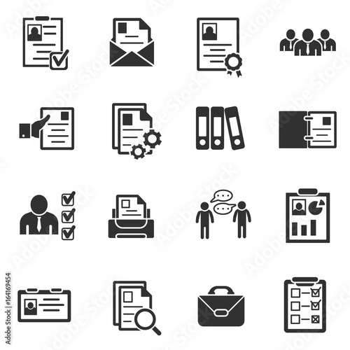 summary icons set  interview and hiring  simple symbols