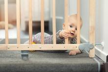 Child Playing Behind Safety Ga...