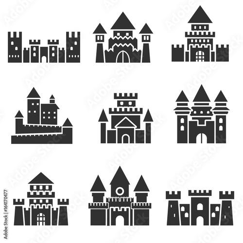 Cuadros en Lienzo Ancient castles. Monochrome icons.
