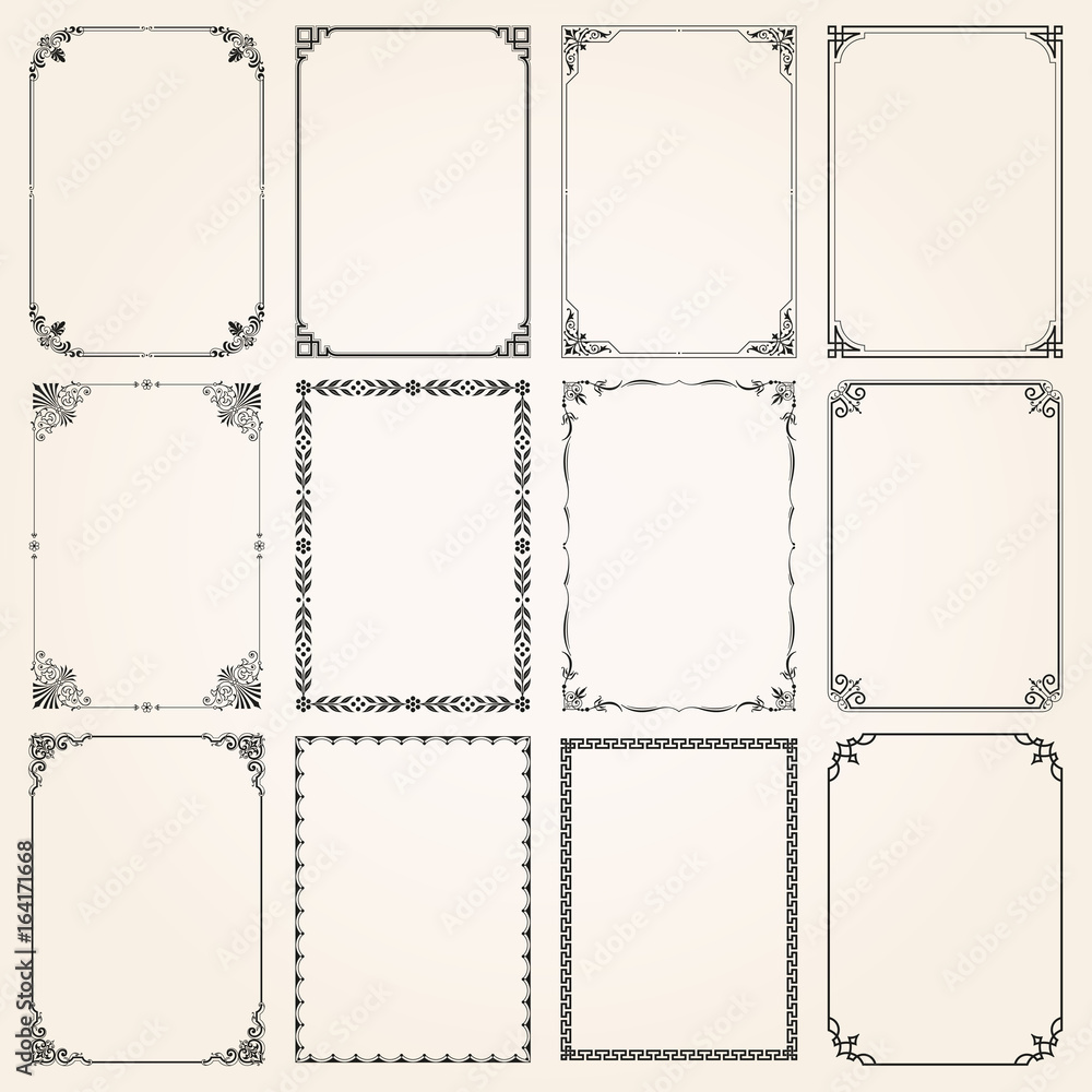 Fototapety, obrazy: Decorative frames and borders rectangle proportions set 5