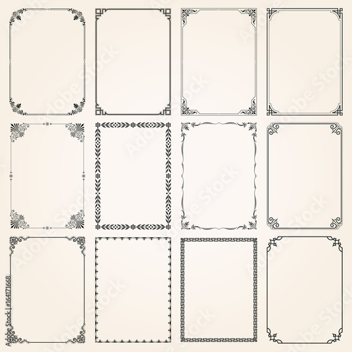 Decorative frames and borders rectangle proportions set 5 Canvas Print