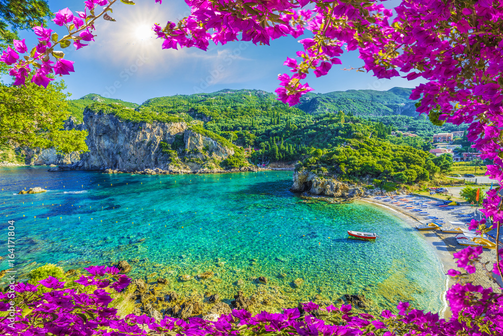 Fototapeta Amazing bay with crystal clear water in Paleokastritsa, Corfu island, Greece
