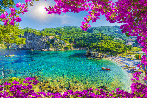 Tuinposter Landschappen Amazing bay with crystal clear water in Paleokastritsa, Corfu island, Greece