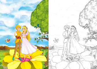 Cartoon fairy tale scene with couple of loving elfs - illustration for children