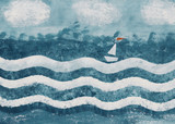 Boat on the waves. Background. Watercolor illustration. Hand drawing - 164175230