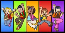Cartoon Jumping Kids. Vector C...