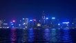 hong kong city bay night illumination victoria harbour panorama 4k china