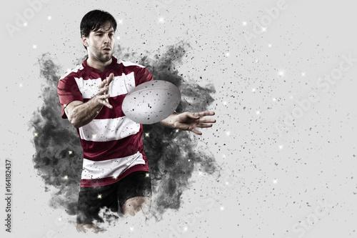 Plakat Rugby gracz wychodzi z wybuchu dymu.
