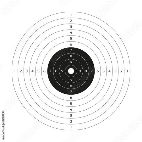 Blank vector gun target, paper shooting target, blank template for