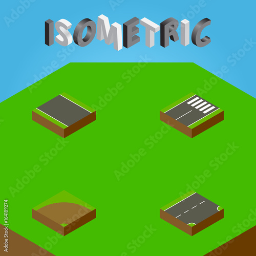 Fotografiet  Isometric Road Set Of Sand, Footer, Without Strip Vector Objects