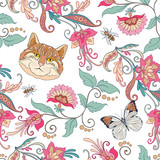 Seamless pattern, background with vintage style flowers and cats
