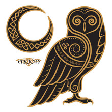 Owl Hand-drawn In Celtic Styl,...