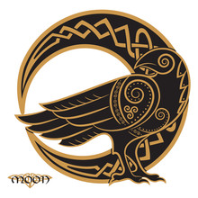 Raven Hand-drawn In Celtic Style, On The Background Of The Celtic Moon Ornament