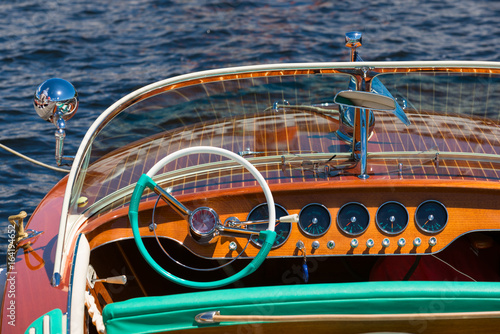 Dashboard in a vintage wooden boat