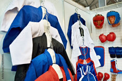 Deurstickers Vechtsport Clothing and equipment for martial arts in shop