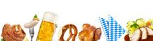 Oktoberfest Banner Mit Bier, Schweinehaxe, Brezel, Weißwurst - Essen Und Trinken Panorama
