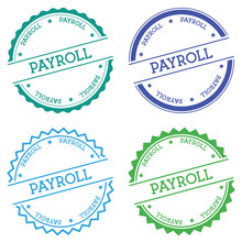 Payroll Badge Isolated On White Background. Flat Style Round Label With Text. Circular Emblem Vector Illustration.