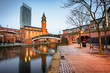 canvas print picture - Bridge water canal Manchester England