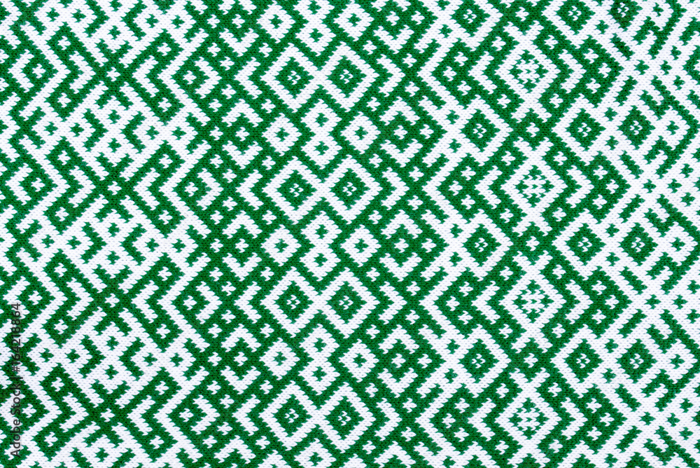 Poster Foto Knitted Texture With The Pattern Of National Symbol Of