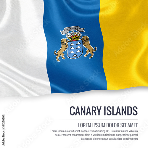 Fotografia  Spanish state Canary Island flag waving on an isolated white background